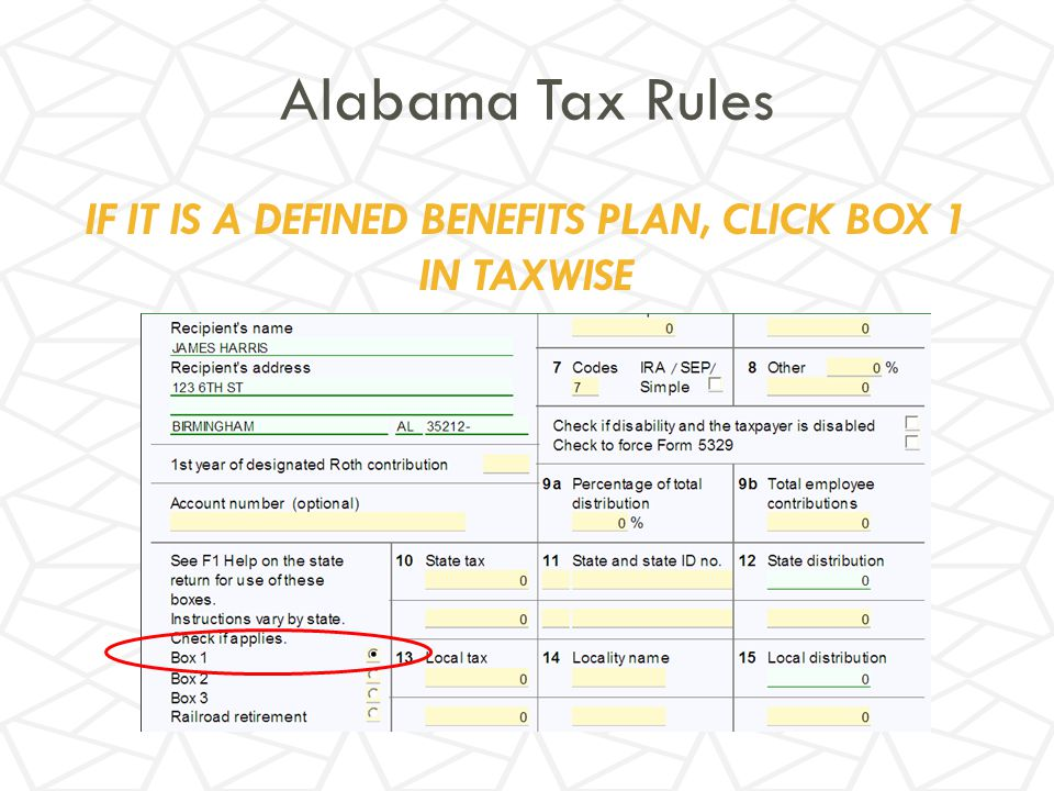 IF IT IS A DEFINED BENEFITS PLAN, CLICK BOX 1 IN TAXWISE