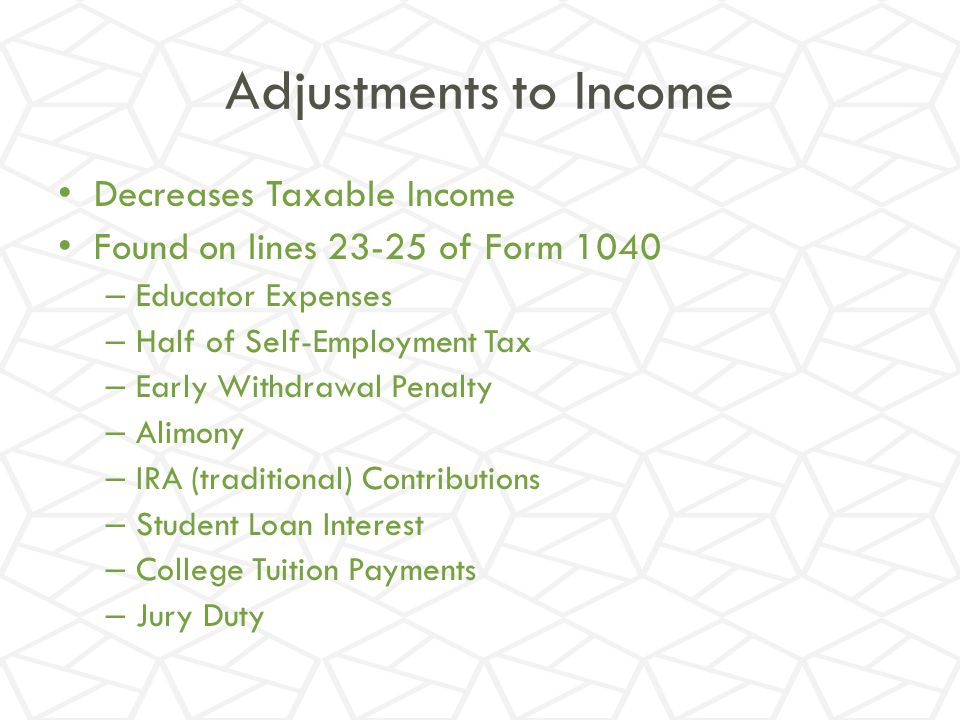 Adjustments to Income Decreases Taxable Income
