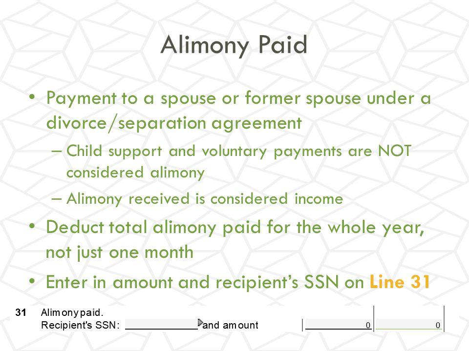 Alimony Paid Payment to a spouse or former spouse under a divorce/separation agreement.