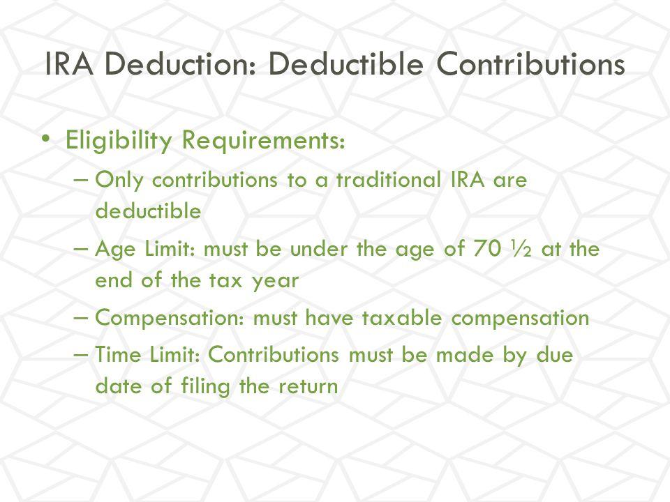 IRA Deduction: Deductible Contributions