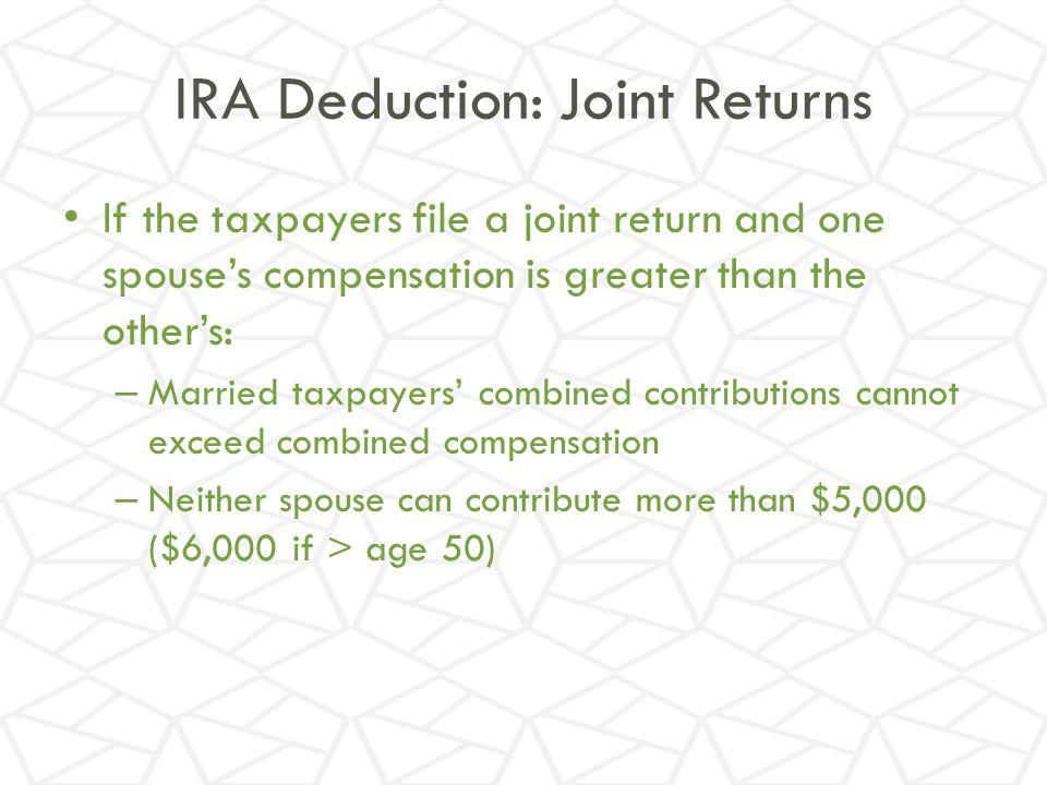 IRA Deduction: Joint Returns