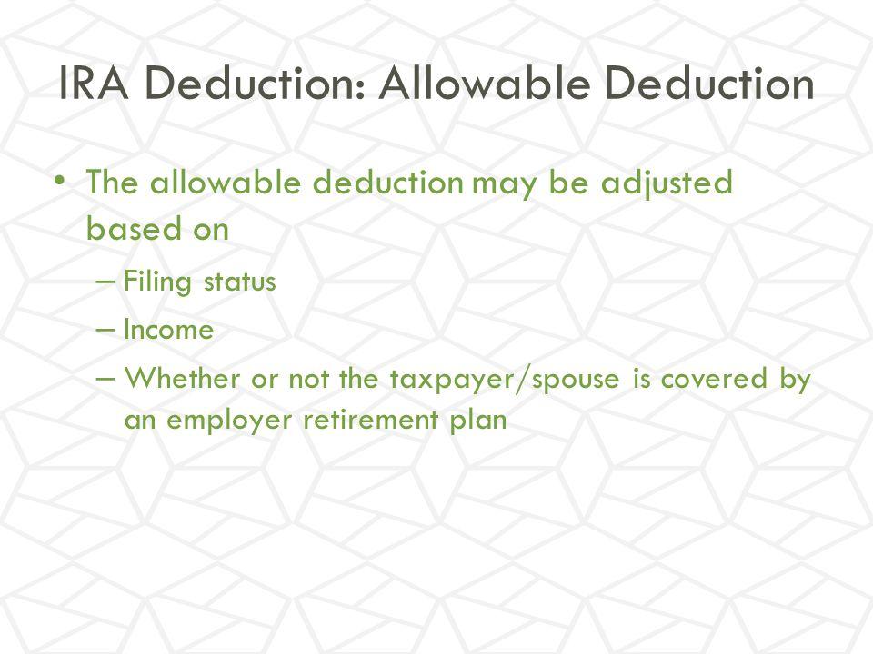 IRA Deduction: Allowable Deduction