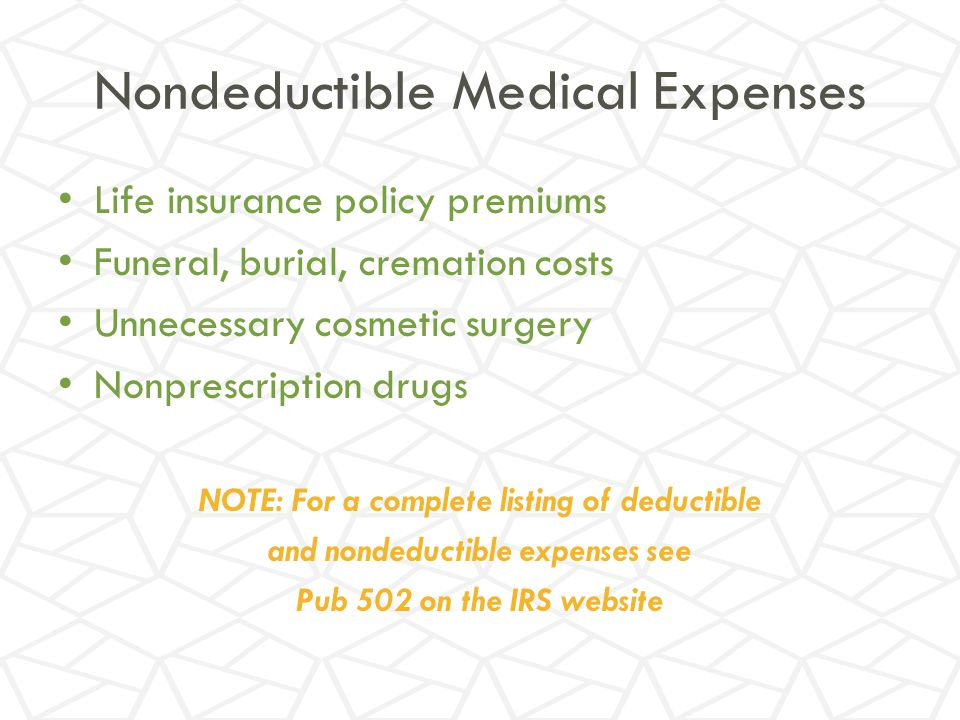 Nondeductible Medical Expenses