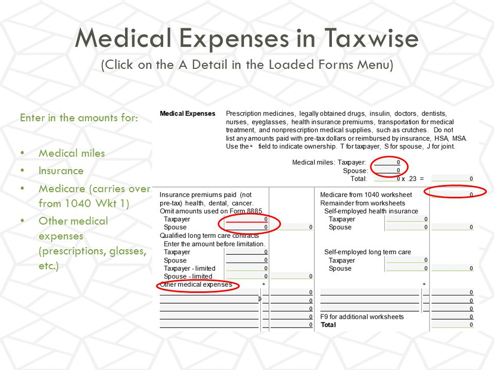 Medical Expenses in Taxwise (Click on the A Detail in the Loaded Forms Menu)