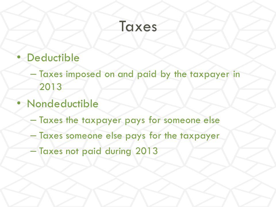 Taxes Deductible Nondeductible