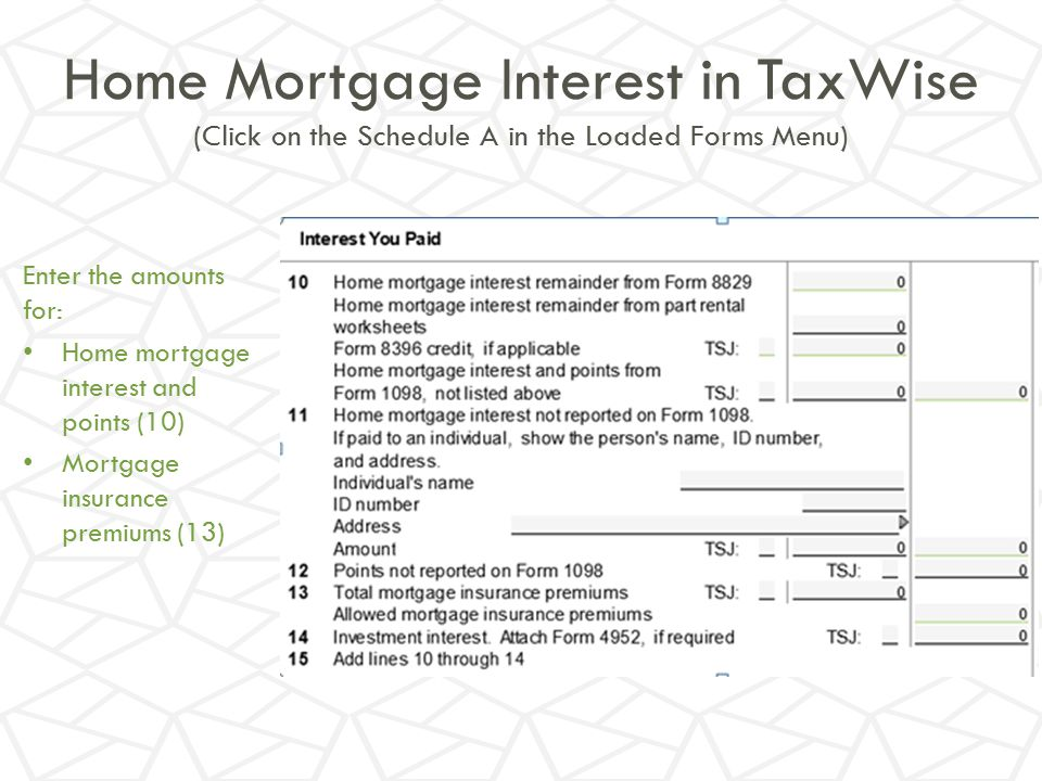 Home Mortgage Interest in TaxWise (Click on the Schedule A in the Loaded Forms Menu)