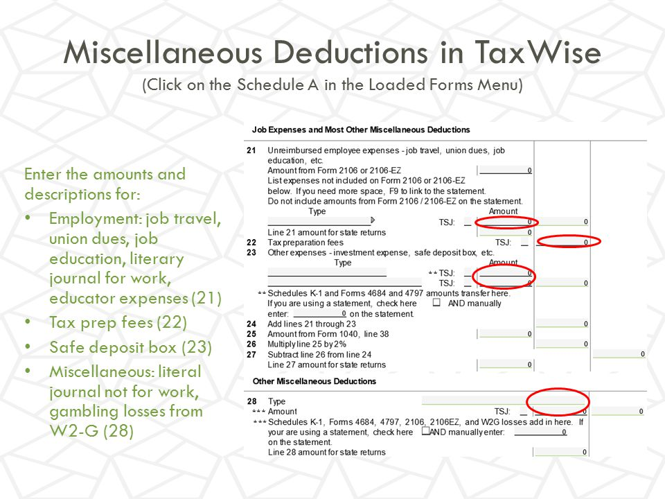 Miscellaneous Deductions in TaxWise (Click on the Schedule A in the Loaded Forms Menu)