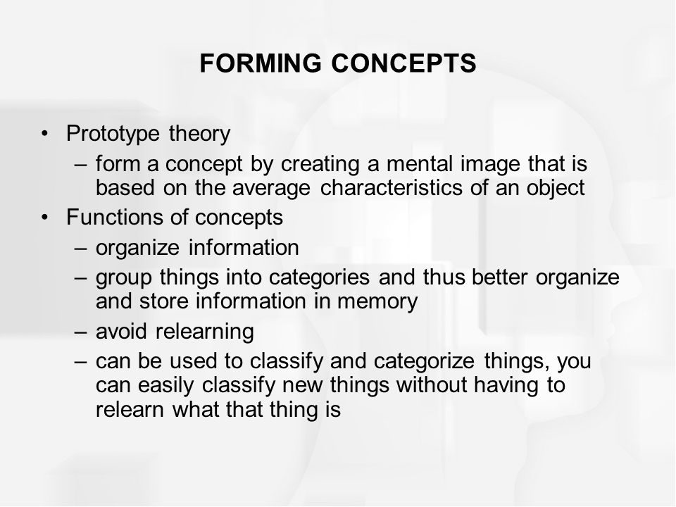 FORMING CONCEPTS Prototype theory