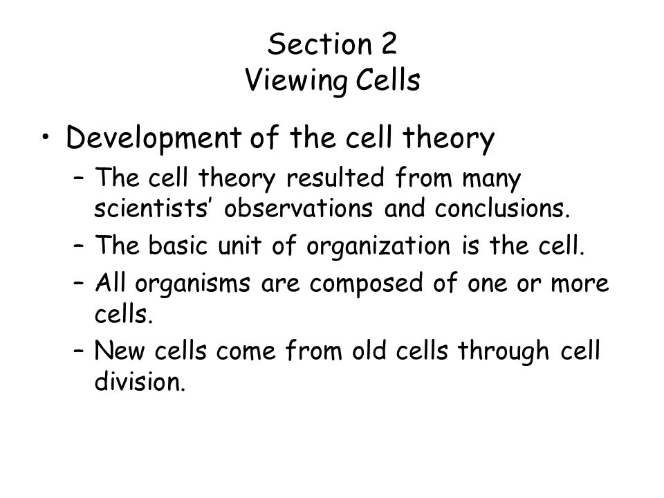 Development of the cell theory