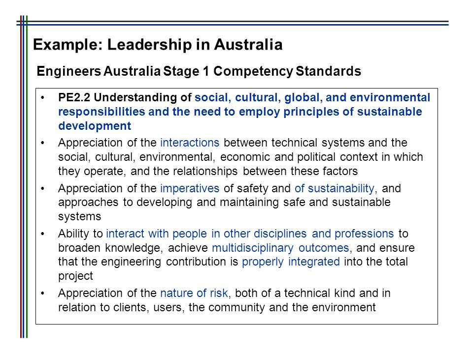 Example: Leadership in Australia