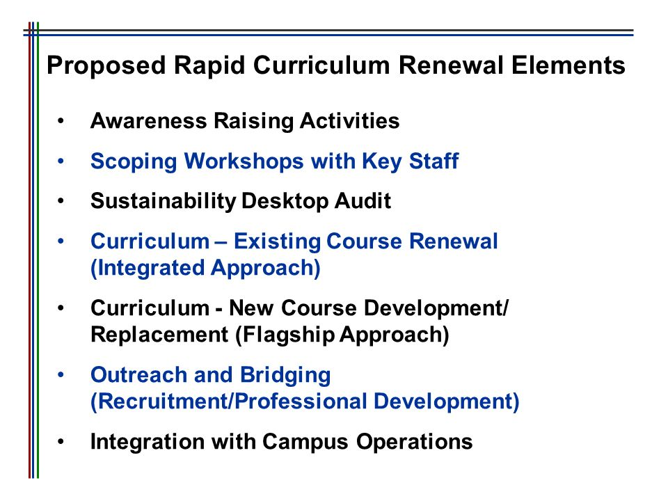 Proposed Rapid Curriculum Renewal Elements