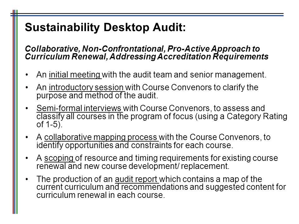 Sustainability Desktop Audit: