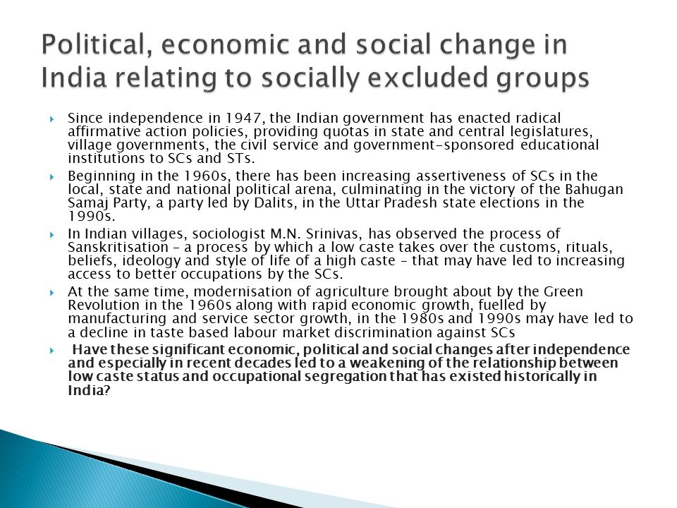 A New Society: Economic & Social Change