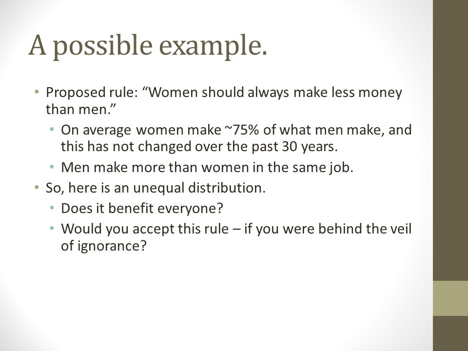 A possible example. Proposed rule: Women should always make less money than men.