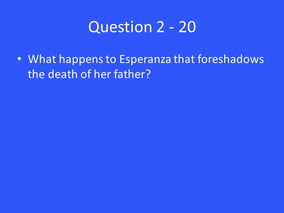 Question 2 - 20 What happens to Esperanza that foreshadows the death of her father