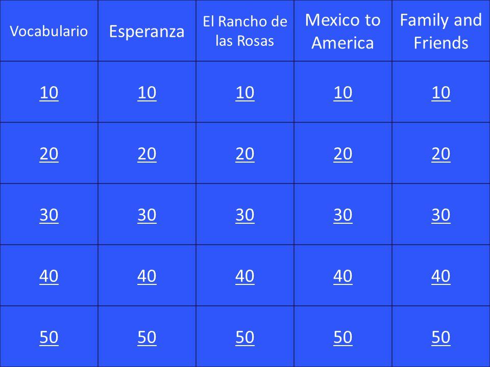 Esperanza Mexico to America Family and Friends 10 20 30 40 50