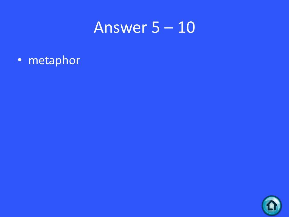 Answer 5 – 10 metaphor