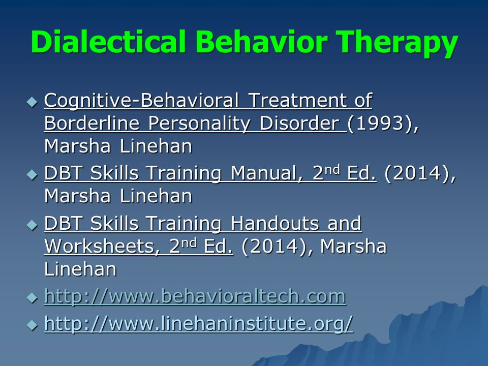 cognitive and dialectical behaviour therapy borderline personality disorder nursing essay Youth violence reduction and primary prevention white paper  outpatient  interventions are uniformly cognitive-behavioral (cbt) in  12-18 months of  outpatient dynamic group therapy and 6 months of outreach nursing (chiesa &  fonagy, 2000, 2003)  dialectical behavior therapy for borderline personality  disorder: a.