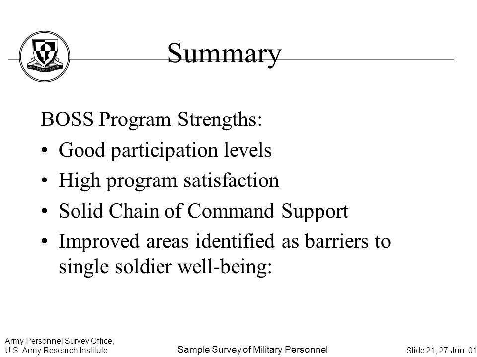 Summary BOSS Program Strengths: Good participation levels