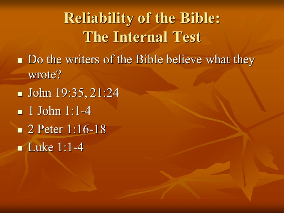 Reliability of the Bible: The Internal Test