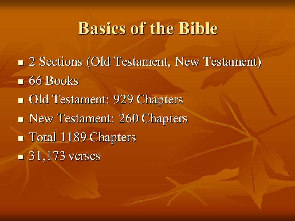 Basics of the Bible 2 Sections (Old Testament, New Testament) 66 Books