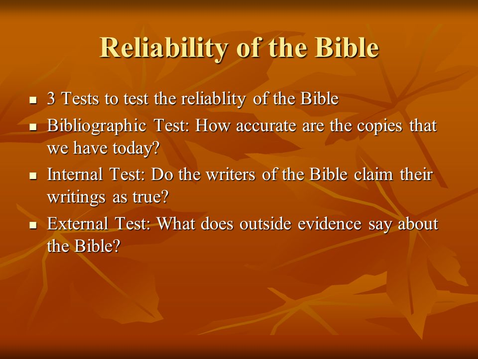 the reliability of the bible 2018-4-23  translations and reliability of the bible tim sets straight the assertion that the bible has been translated many times over and therefore can't be reliable.