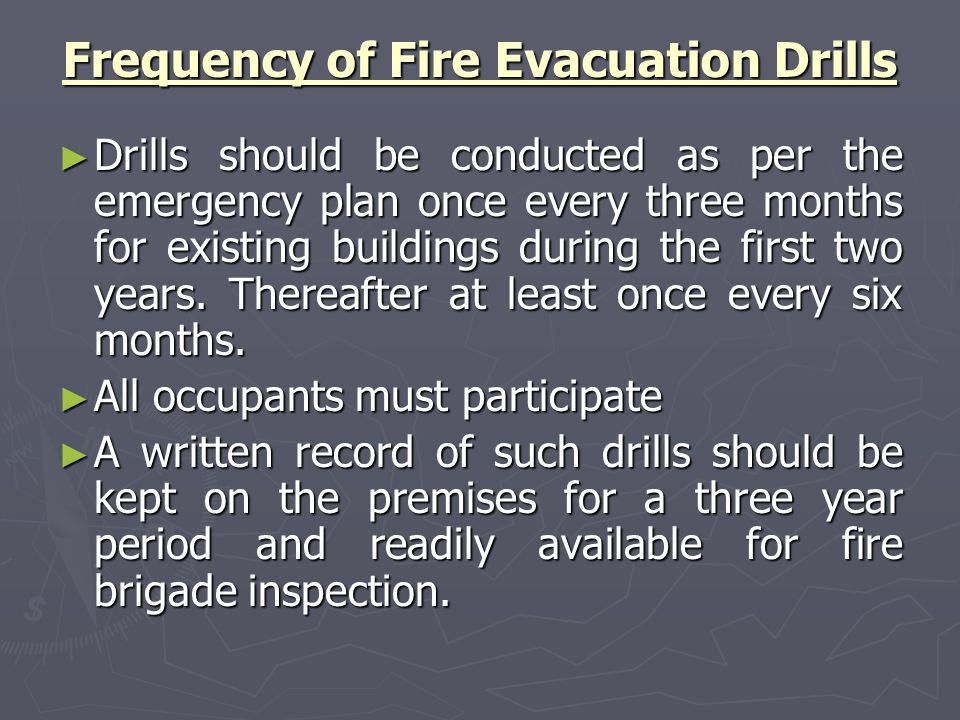 fire and evacuation instruction record