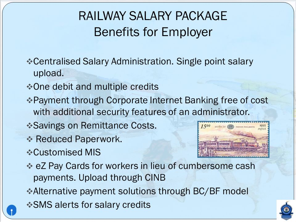 PRESENTATION ON RAILWAY SALARY PACKAGE BY STATE BANK OF INDIA ...