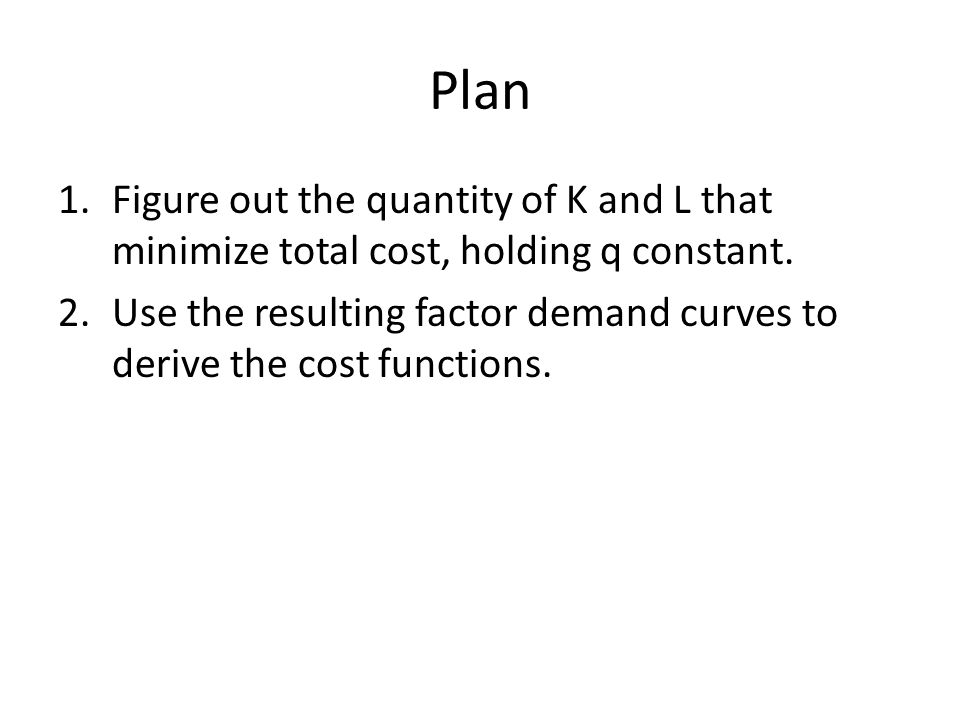 how to find cost minimizing factor