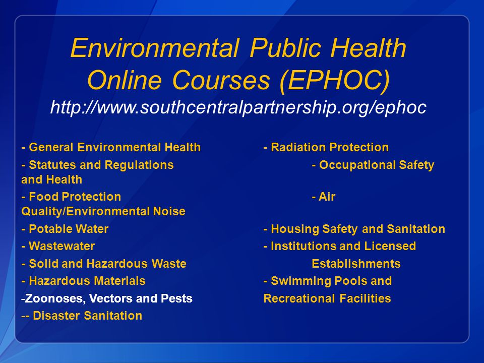 """syllabus on environmental sanitation Syllabus for the trade of health sanitary inspector under ats designed in 2010 by  syllabus for the trade of """"health sanitary inspector """" under apprenticeship training scheme (ats)  3 definition of environmental sanitation, various uses of water and its need."""