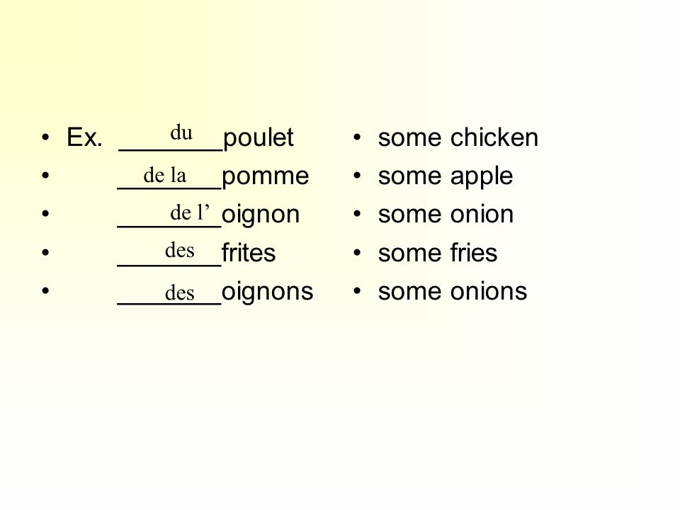 Ex. _______poulet _______pomme _______oignon _______frites