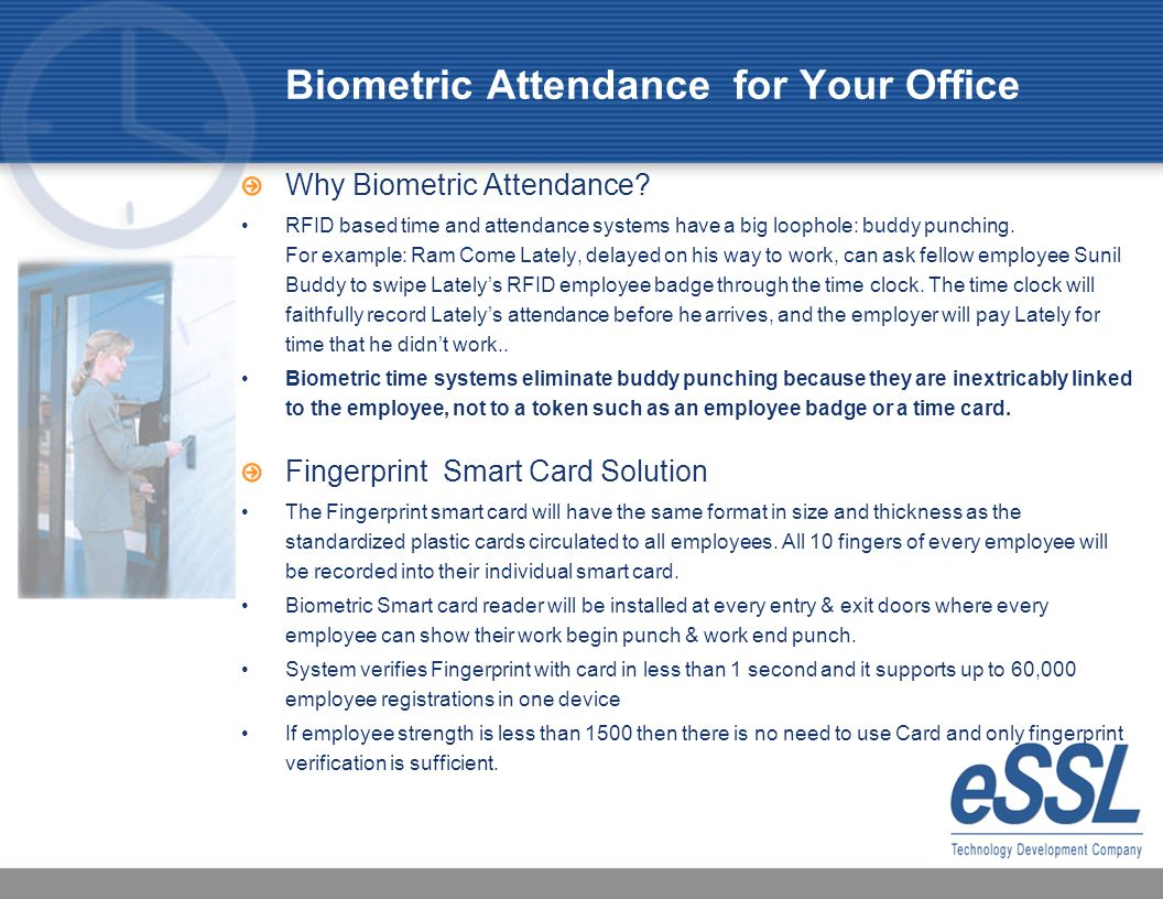 attendance monitoring using biometrics with payroll system essay Biometrics attendance monitoring system essay attendance is one of the of import factors in many establishments and organisation that need to be followed by people it is extremely of import for one organisation in order to keep their public presentation criterions.