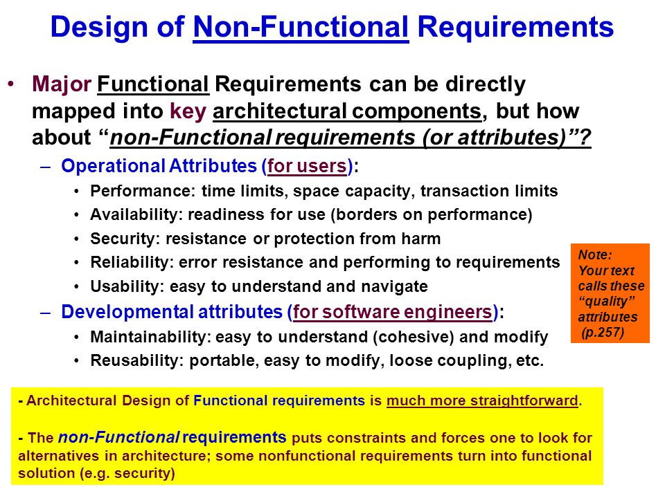 Architecture deals with functional requirements