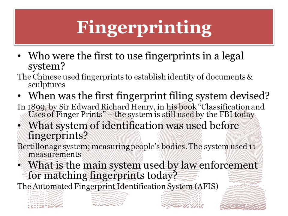 bertillionage to fingerprinting Free essays on bertillionage to fingerprinting for students use our papers to help you with yours 1 - 30.