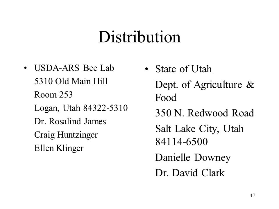 Distribution State of Utah Dept. of Agriculture & Food