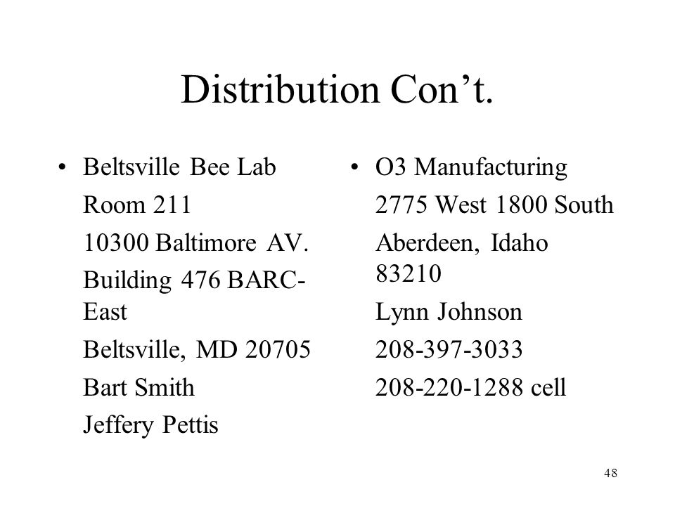 Distribution Con't. Beltsville Bee Lab Room 211 10300 Baltimore AV.