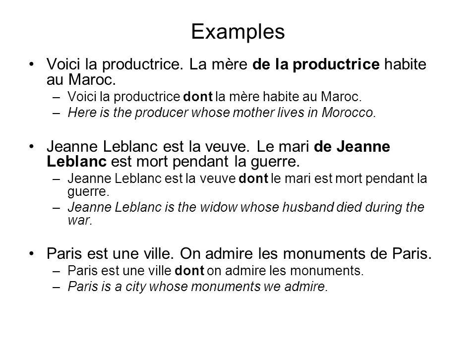 Examples Voici la productrice. La mère de la productrice habite au Maroc. Voici la productrice dont la mère habite au Maroc.
