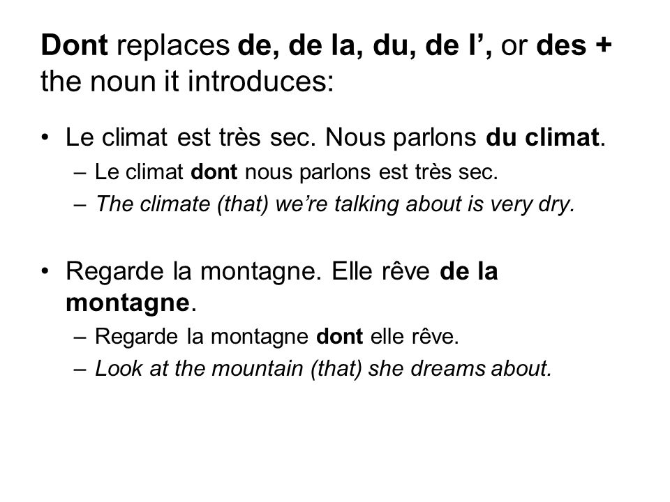 Dont replaces de, de la, du, de l', or des + the noun it introduces: