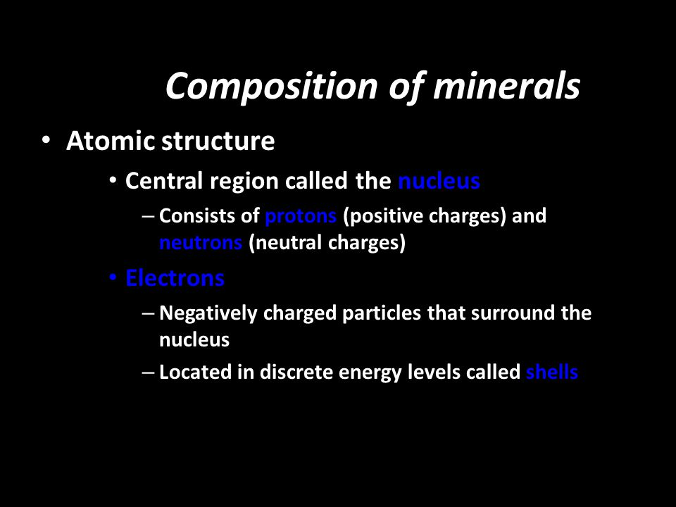 Composition of minerals