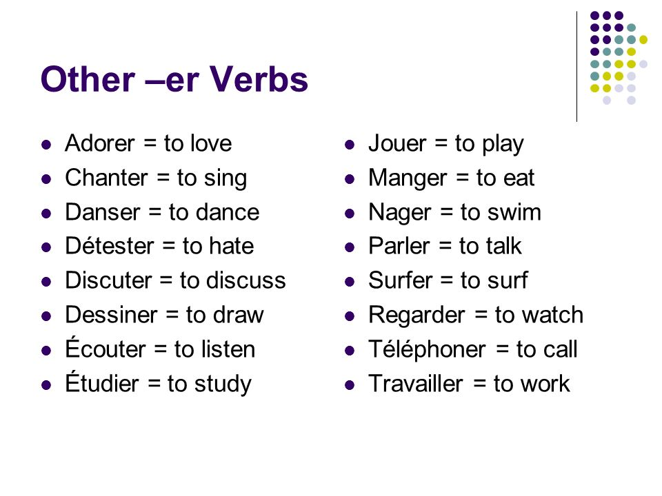 Other –er Verbs Adorer = to love Chanter = to sing Danser = to dance
