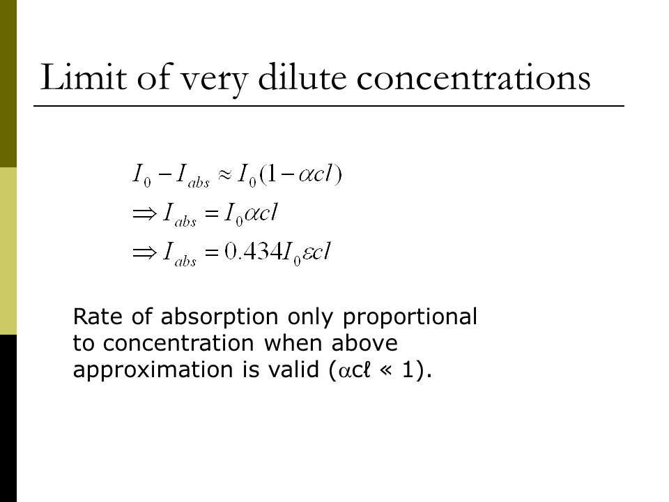 Limit of very dilute concentrations