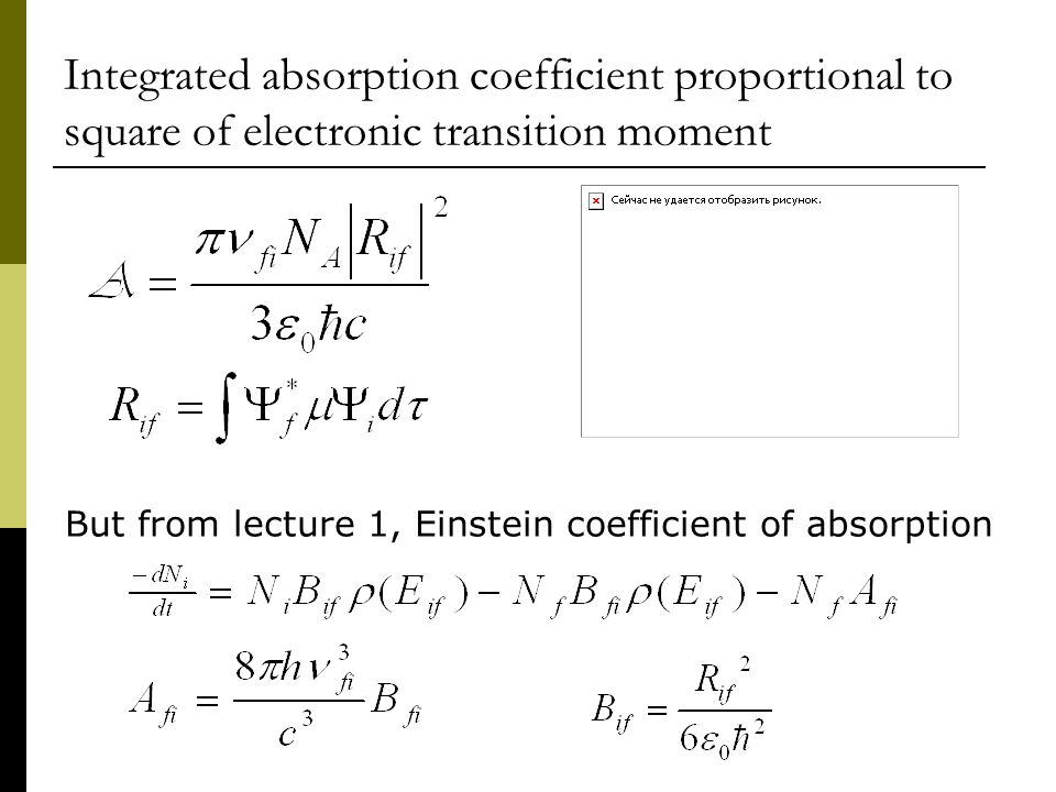 Integrated absorption coefficient proportional to square of electronic transition moment