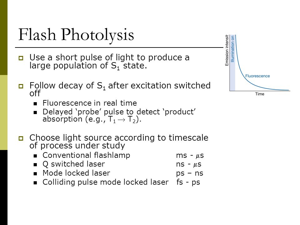 Flash Photolysis Use a short pulse of light to produce a large population of S1 state. Follow decay of S1 after excitation switched off.