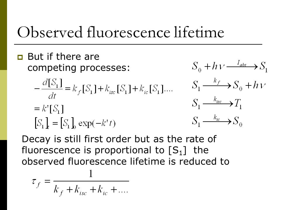 Observed fluorescence lifetime