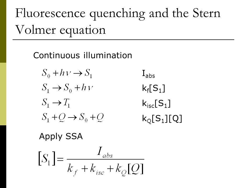 Fluorescence quenching and the Stern Volmer equation