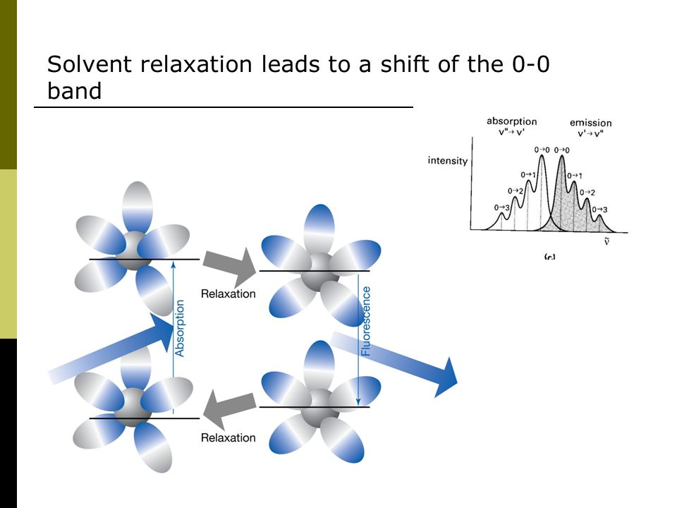 Solvent relaxation leads to a shift of the 0-0 band