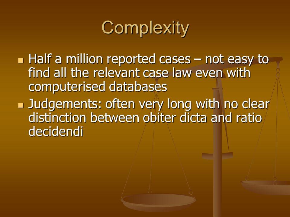 difference between ratio decidendi and obiter dicta Meaning • difference between ratio decidendi and obiter dicta • finding the ratio  decidendi • ratio in appellate decision • cases without a ratio • theories of ratio.
