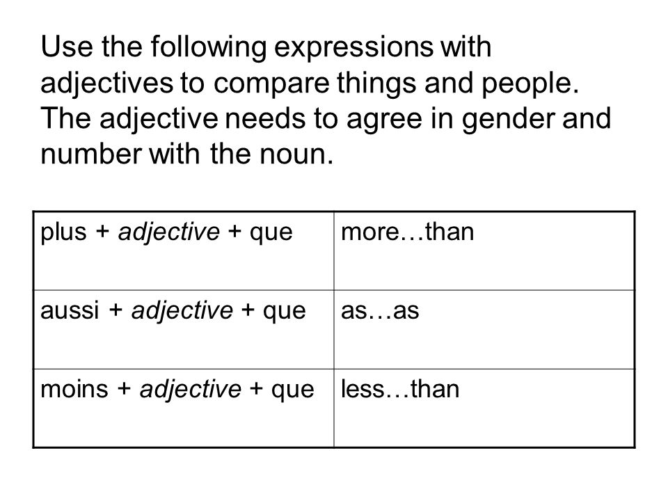 Use the following expressions with adjectives to compare things and people. The adjective needs to agree in gender and number with the noun.