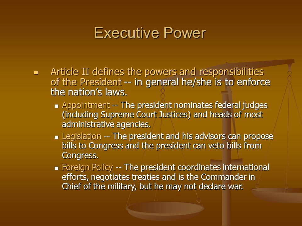 the powers and responsibilities of the american presidency In the american president, the president has the role of commander in chief, chief diplomat, chief legislator, political party leader and a world leader share to: answered.