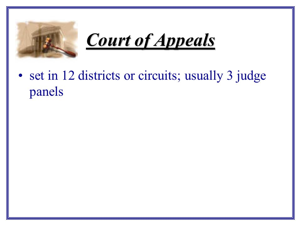 Court of Appeals set in 12 districts or circuits; usually 3 judge panels